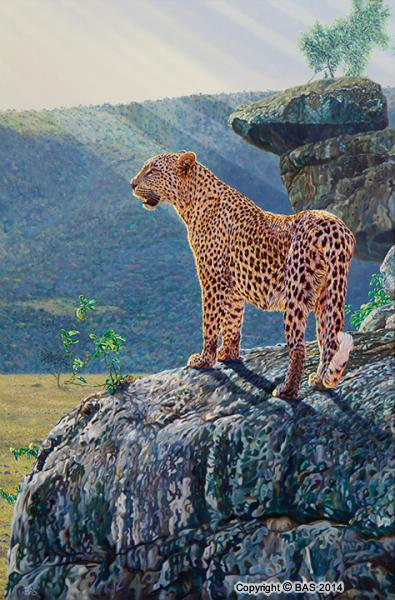 big cat print,leopard print,big cat art print,big cat giclee print, Art of BAS,Masai Mara