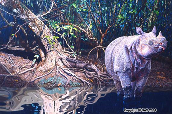 wildlife art,wildlife art paintings,oil painting,bas,art of bas,Javan Rhino Painting,Indonesian Rainforest,Government Collection,oil painting on canvas