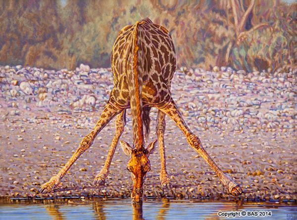 wildlife art,wildlife art paintings,oil painting,bas,art of bas,Giraffe Oil Painting,Etosha National Park Namibia,oil painting on canvas