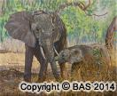 wildlife art,wildlife art paintings,oil painting,bas,art of bas,elephant painting,mother care,oil painting on canvas,africa,luangwa national park